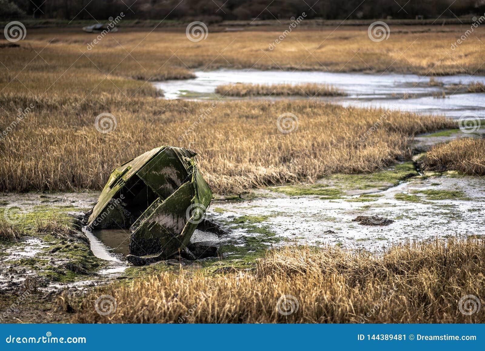 Un barco de fila verde hundido en agua en un pantano en la costa de Kent