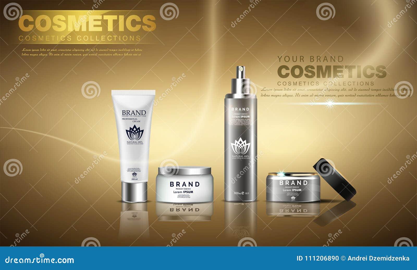 Un beau calibre cosmétique d annonces, une conception d or de bouteille sur un fond brillant d or avec le bokeh d éclaboussure et