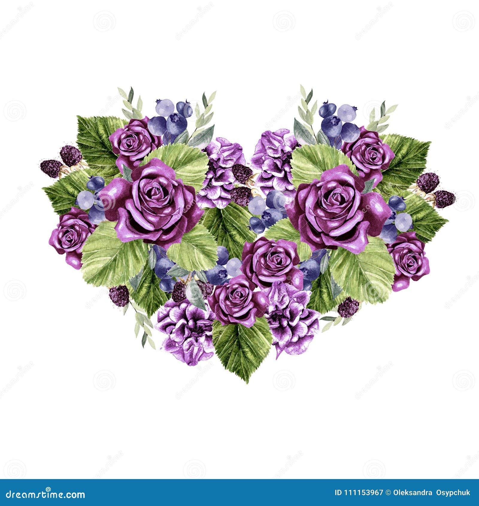 Un Beau Coeur D Aquarelle Avec Des Roses Et Des Fleurs De Pivoine