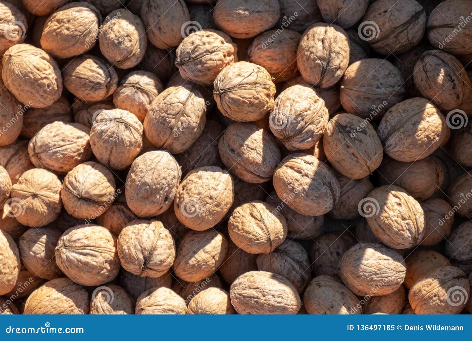 Un bon nombre de noix fraîches