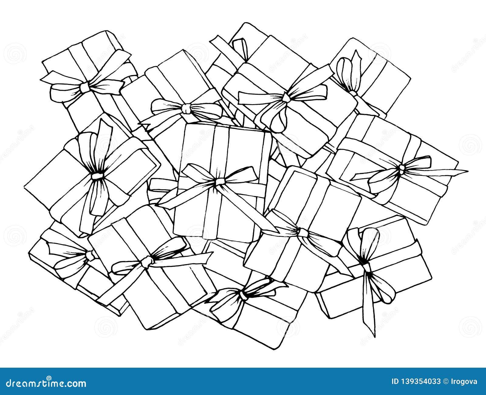 Un bon nombre graphiques d un croquis de cadeaux avec des arcs