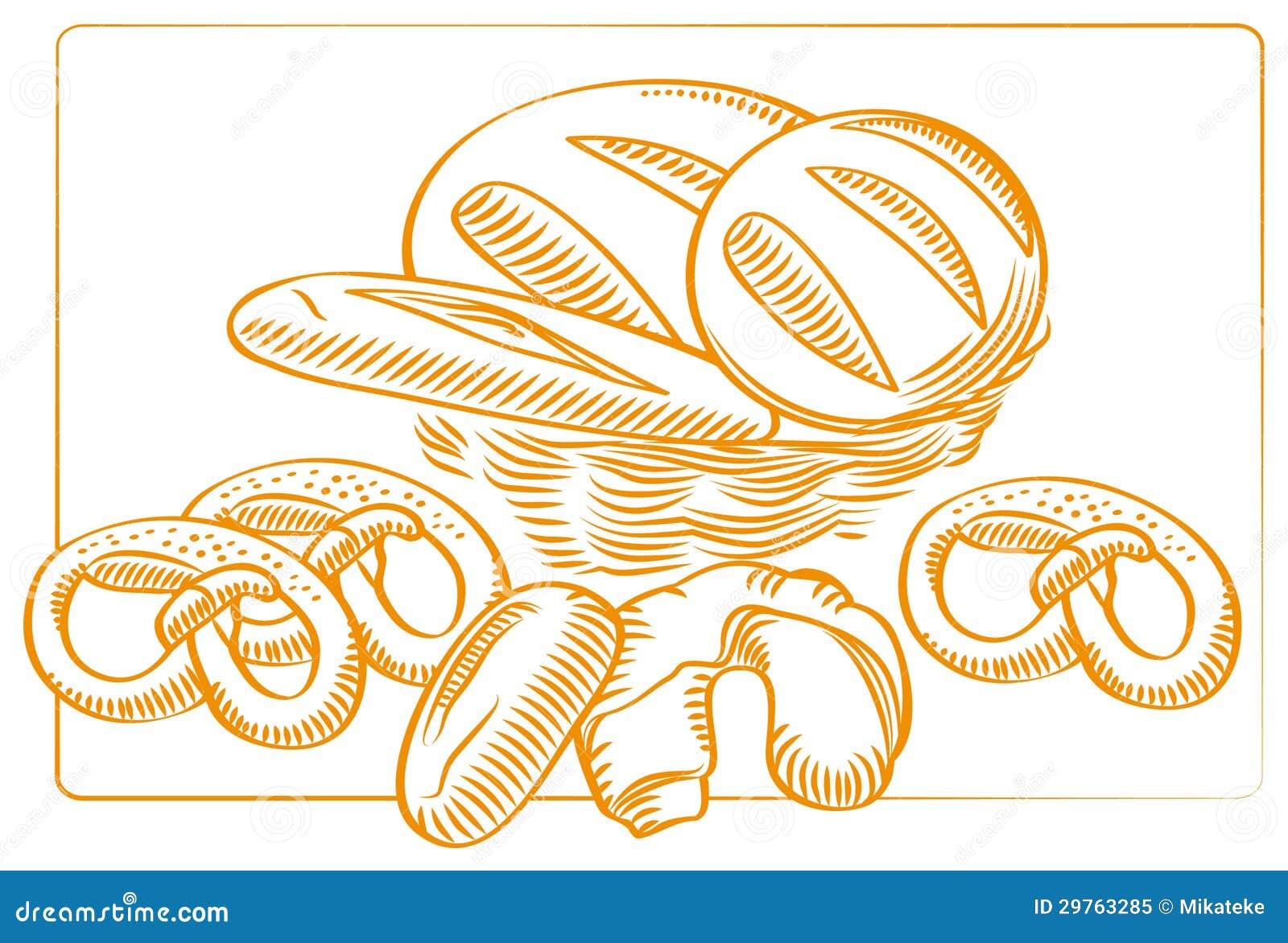 Un bosquejo, dibujo del vector de los productos de una panadería ...