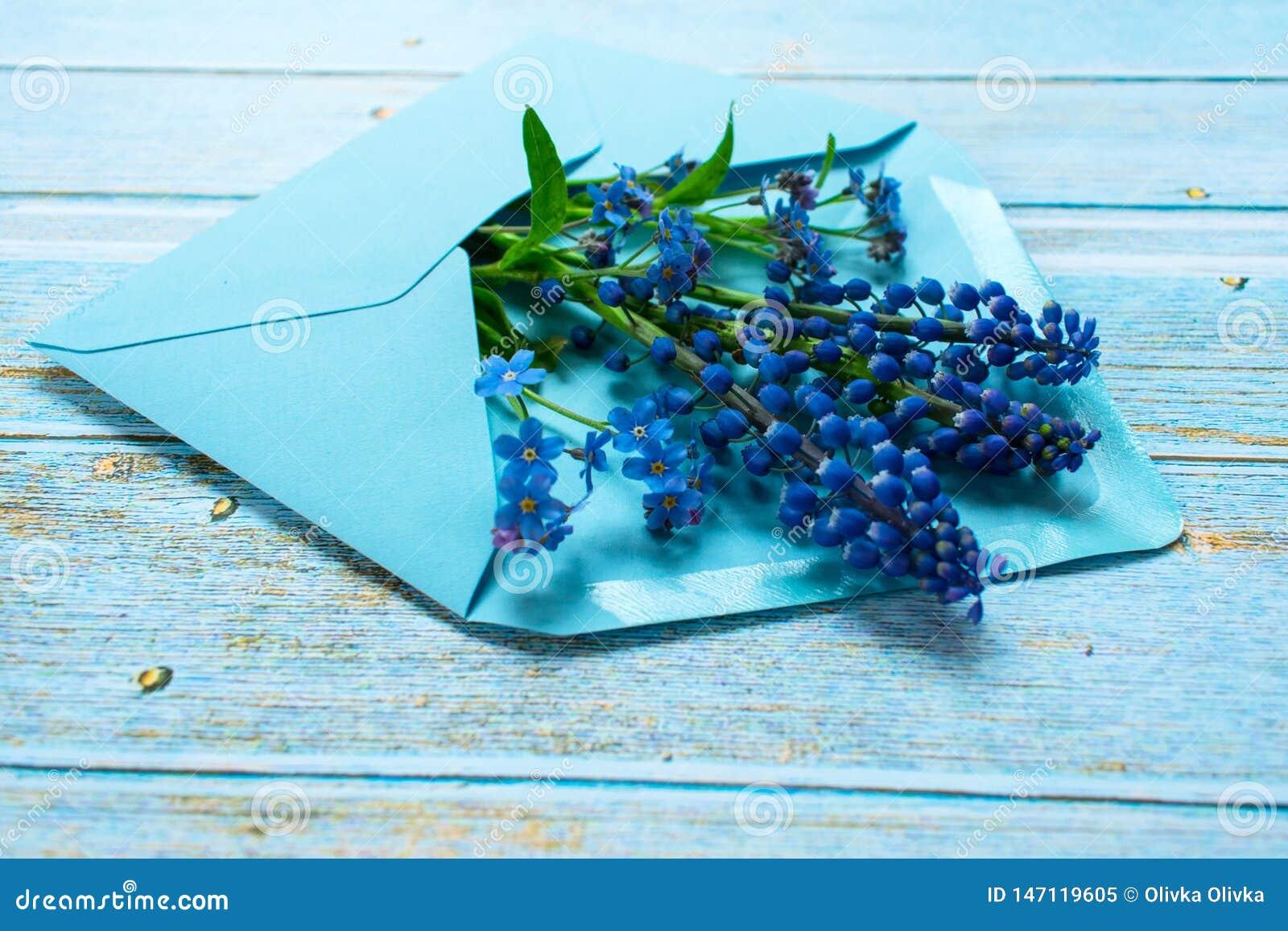 Fleur De Sous Bois Bleue un bouquet de mussari et de petites fleurs bleues sous