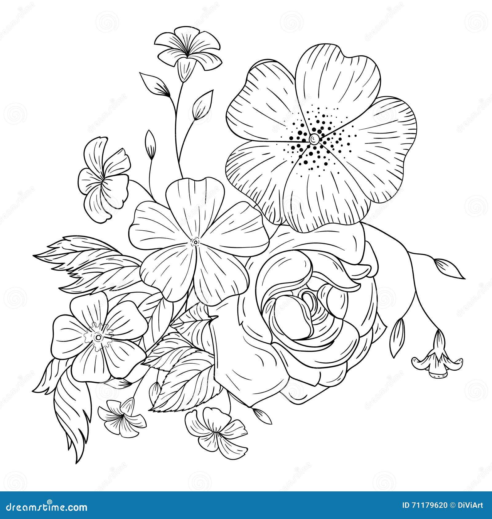 Un bouquet des fleurs pour livres de coloriage - Dessin de bouquet de fleurs ...
