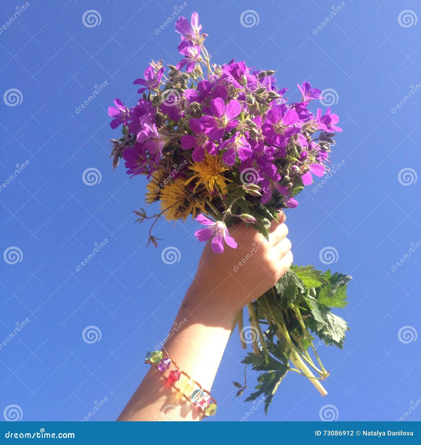 Un bouquet des fleurs sur un fond de ciel bleu