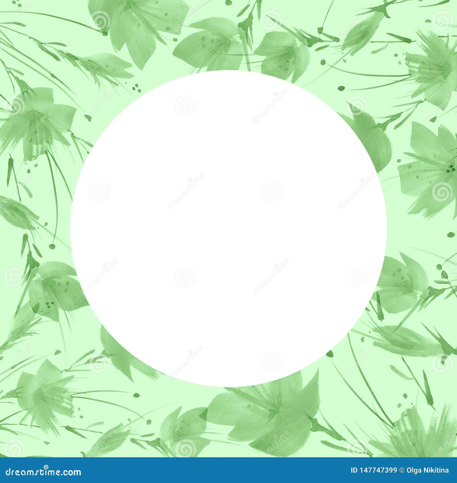 Un bouquet des fleurs vertes, pissenlit, pavot une éclaboussure de peinture Dessin d aquarelle, illustration Carte de voeux, invi