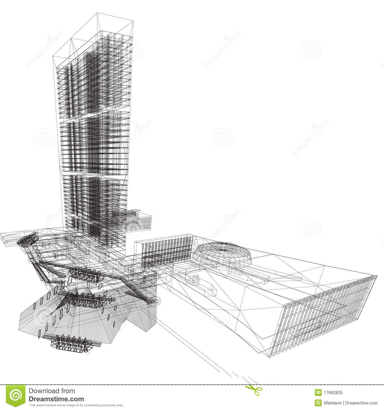 un building wireframe stock illustration illustration of industry