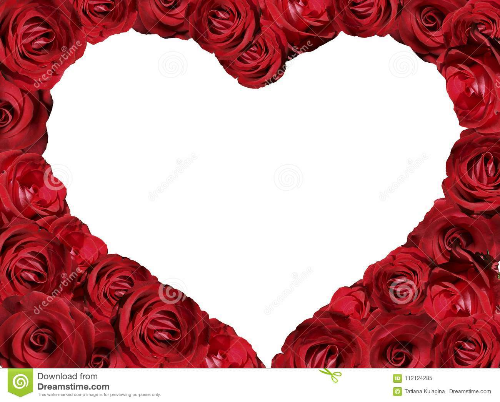 Un cadre des roses sous forme de coeur