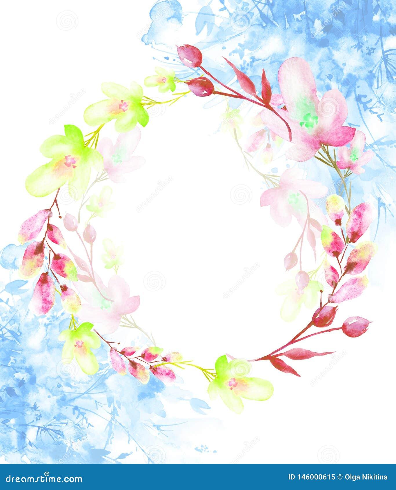 Un cadre rond d aquarelle, une carte postale, une guirlande des fleurs, brindilles, usines, baies Illustration de cru Utilisation