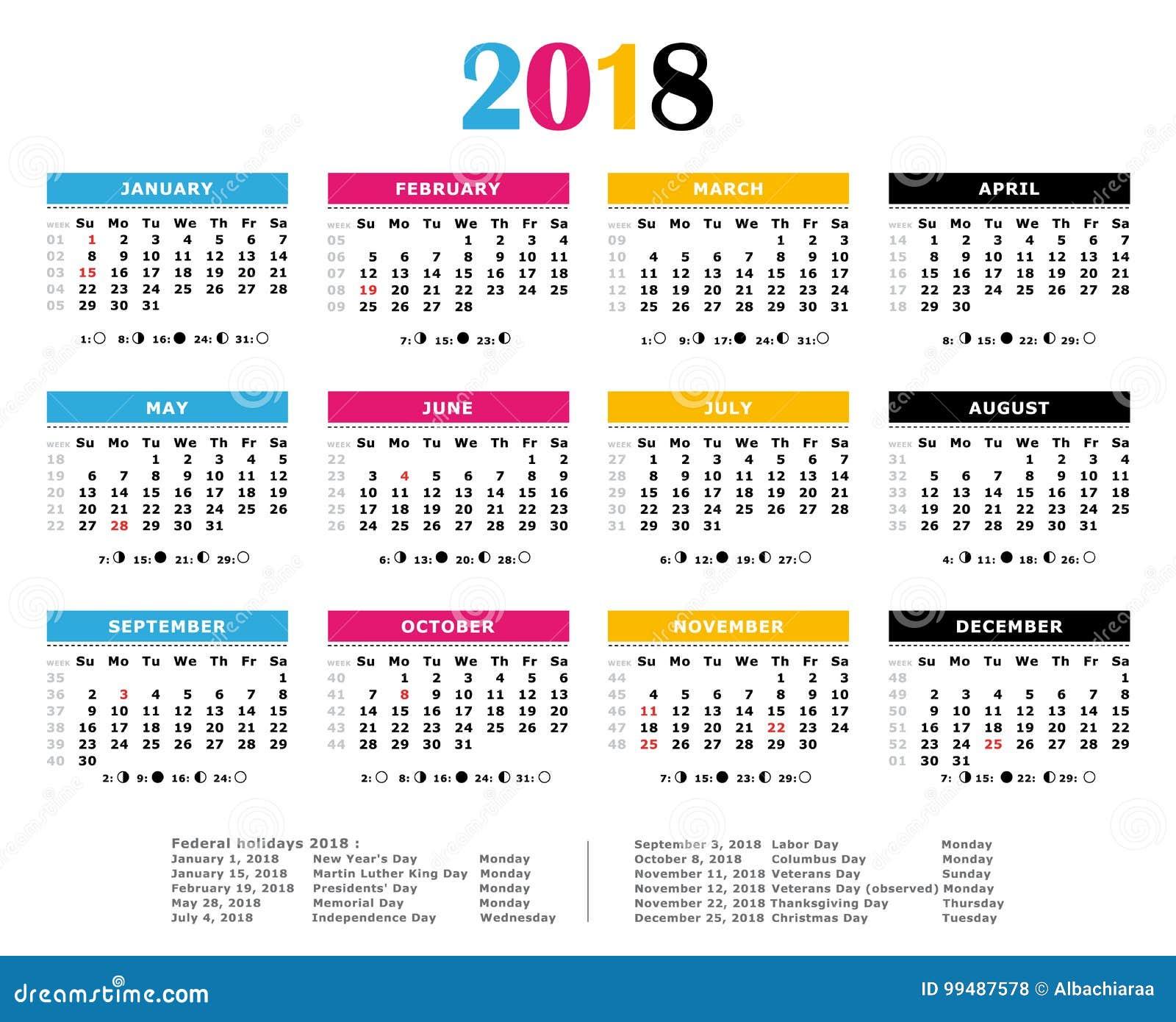 Un calendario annuale di 2018 di CMYK colori della stampa