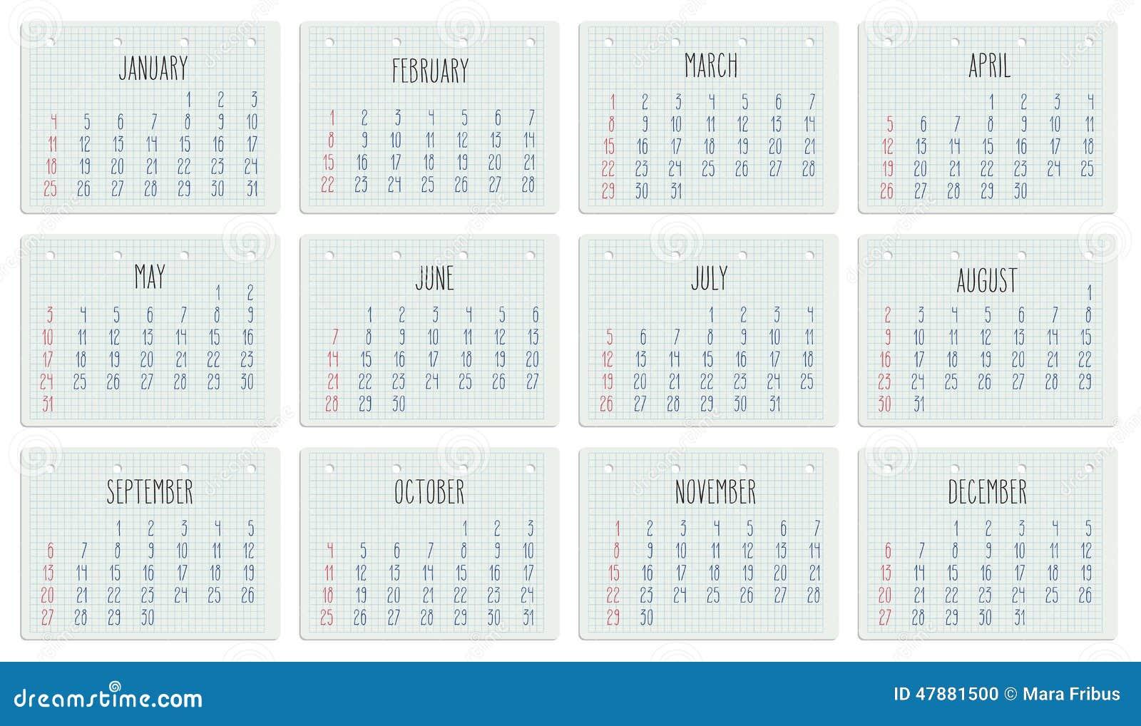 Calendario Anno 2015 Mensile.Un Calendario Da 2015 Anni Alla Pagina Del Taccuino