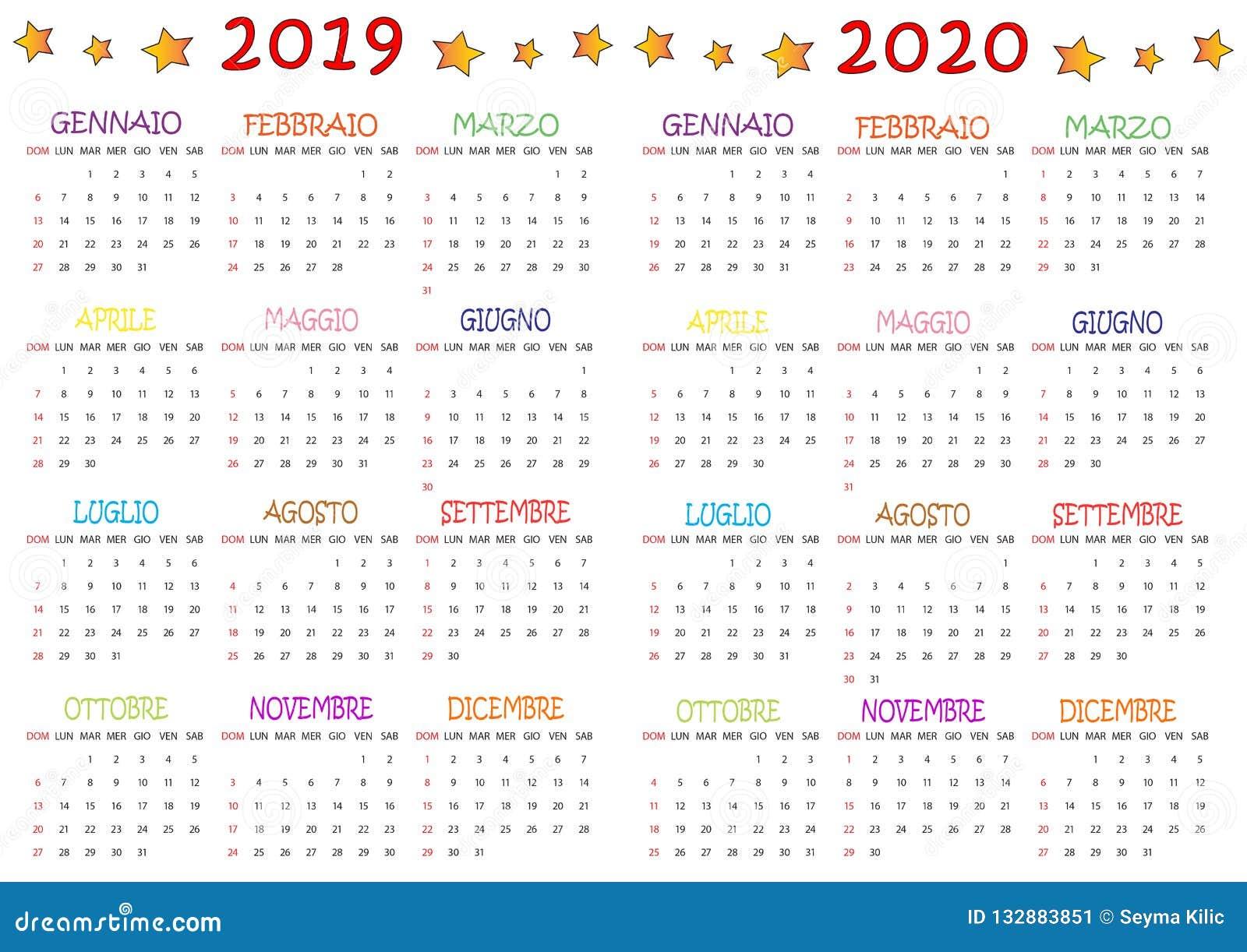 Calendario 2020 Da Colorare Per Bambini.Calendario Bambini 2020 Calendario 2020