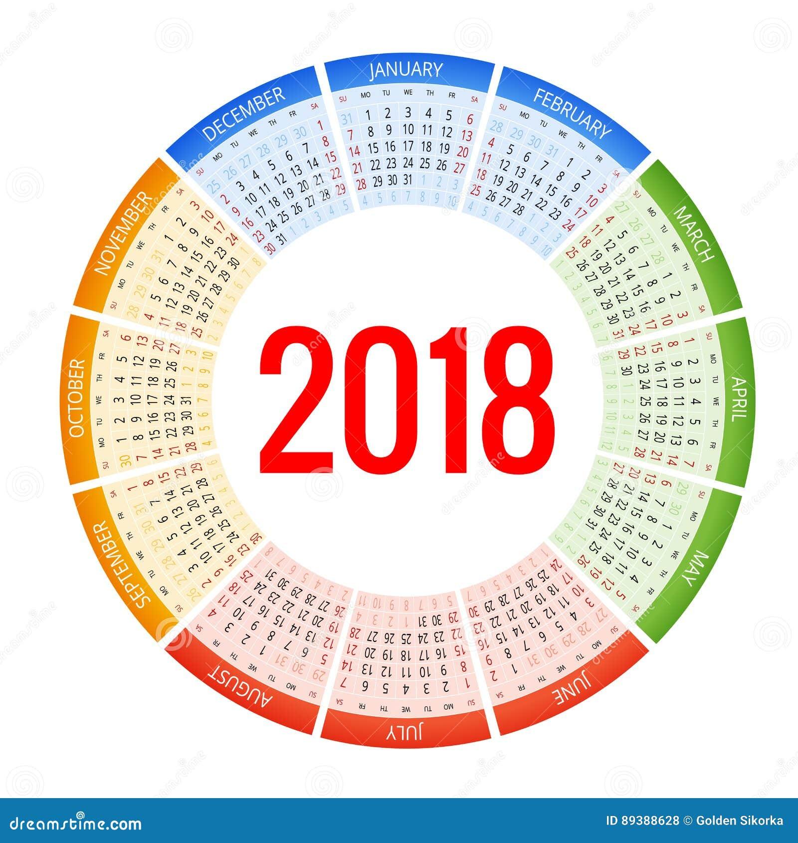 Un calendario di 2018 cerchi Modello della stampa La settimana comincia domenica Orientamento del ritratto Un insieme di 12 mesi