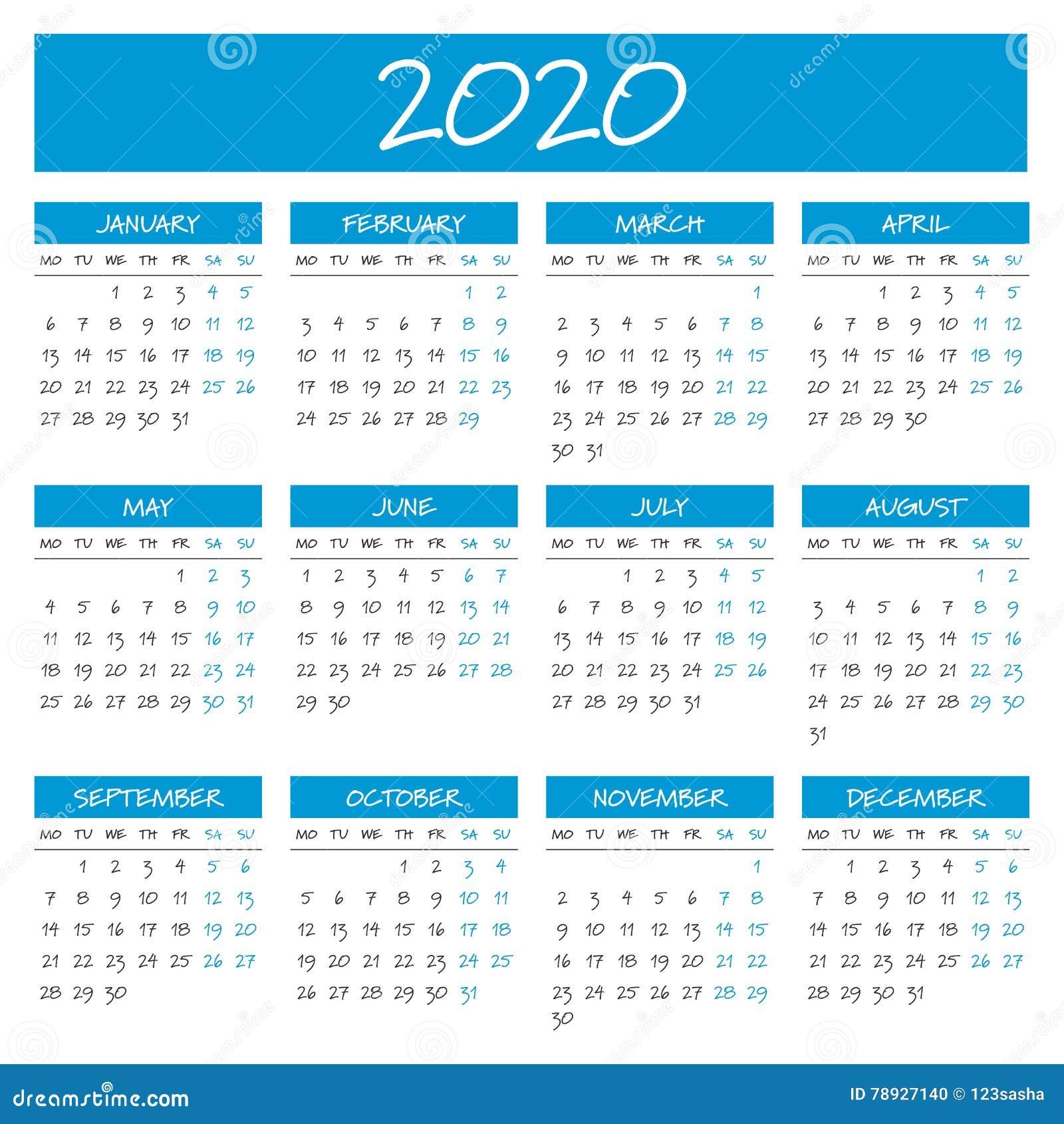 Calendario 2020 Con Numero Settimane.Un Calendario Semplice Da 2020 Anni Illustrazione Vettoriale