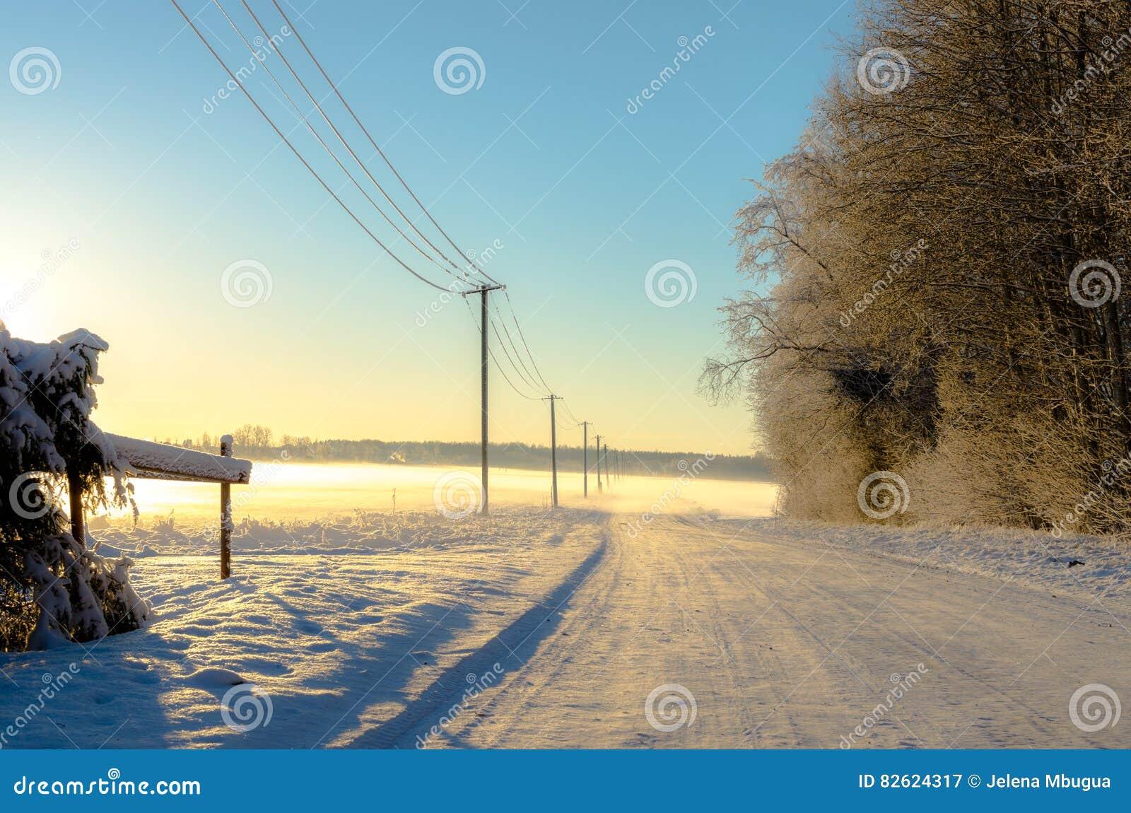 Un camino del campo en invierno