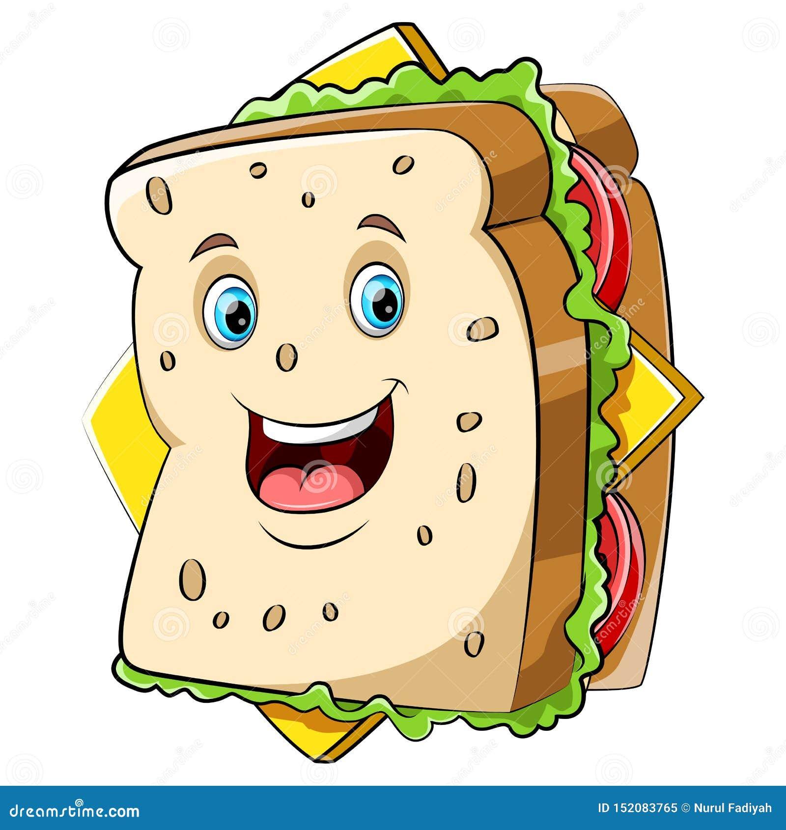 Un caractère heureux de sandwich à bande dessinée