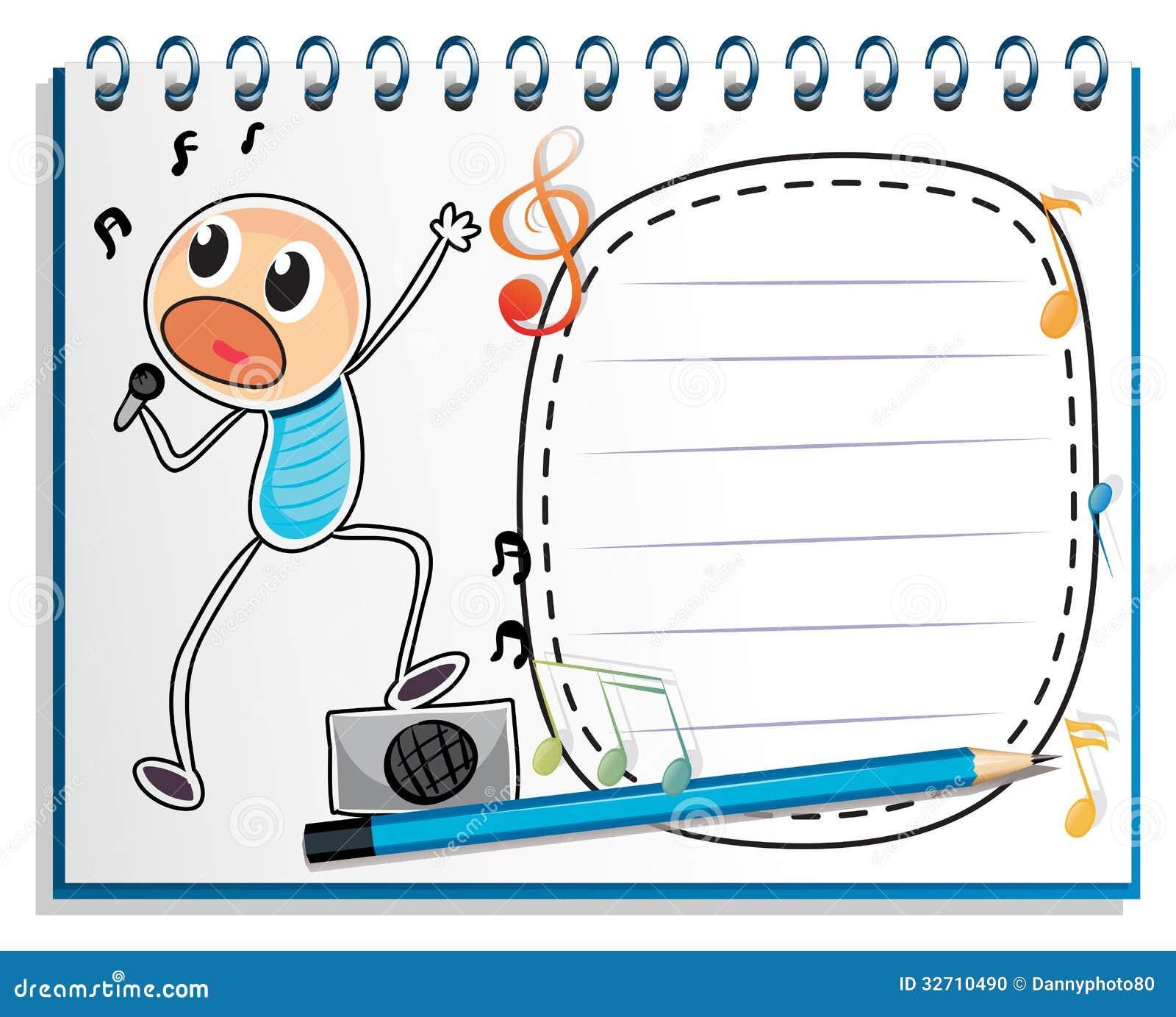un carnet avec un dessin d 39 un chant de gar on photo stock image 32710490. Black Bedroom Furniture Sets. Home Design Ideas