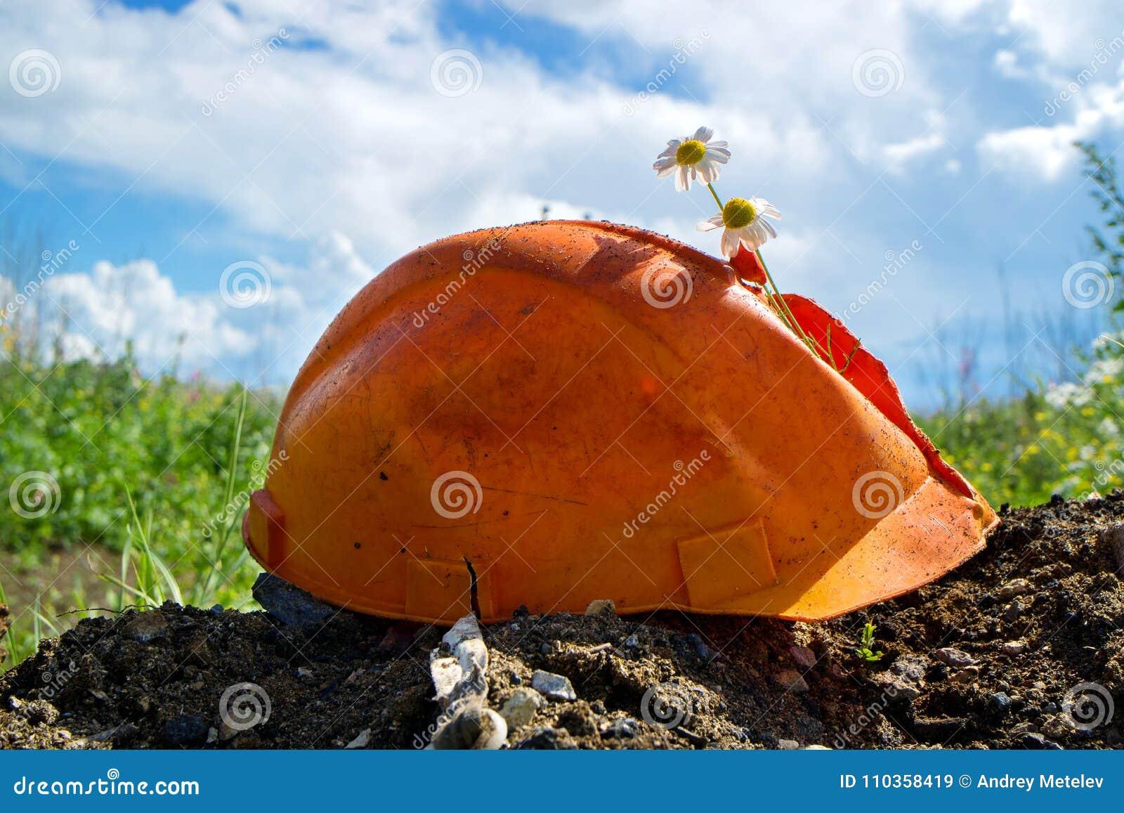 Un casque de bâtiment de couleur orange est cassé de lui collant des fleurs, ciel bleu d été