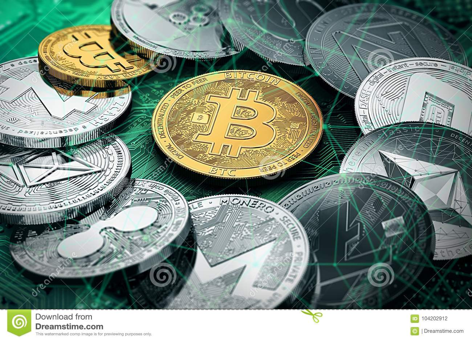 Un cerchio con un bitcoin dorato dentro la pila enorme di cryptocurrencies