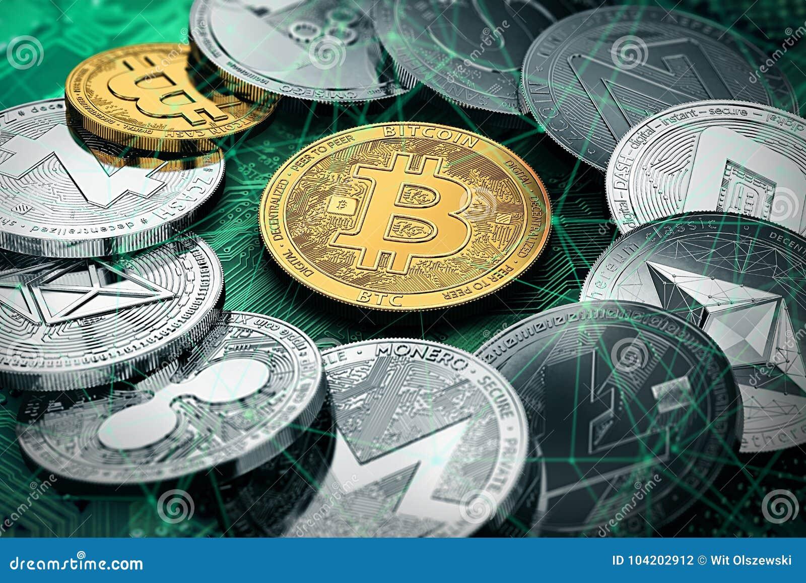Un cercle avec un bitcoin d or à l intérieur de la pile énorme de cryptocurrencies