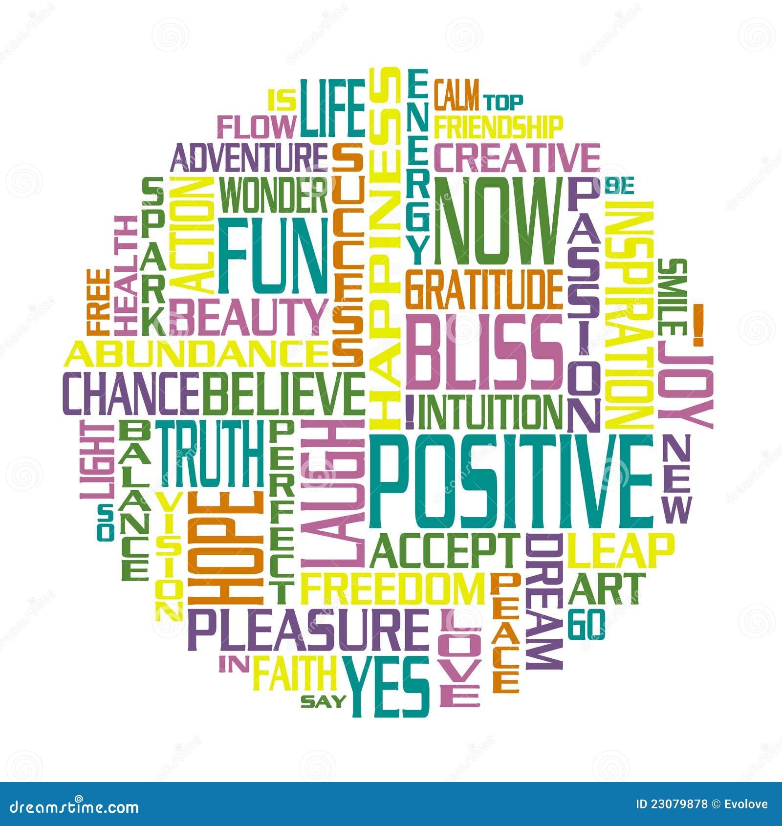 Un cercle fait de mots positifs