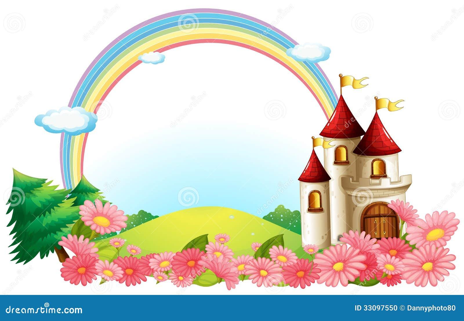 Un château avec les fleurs de floraison