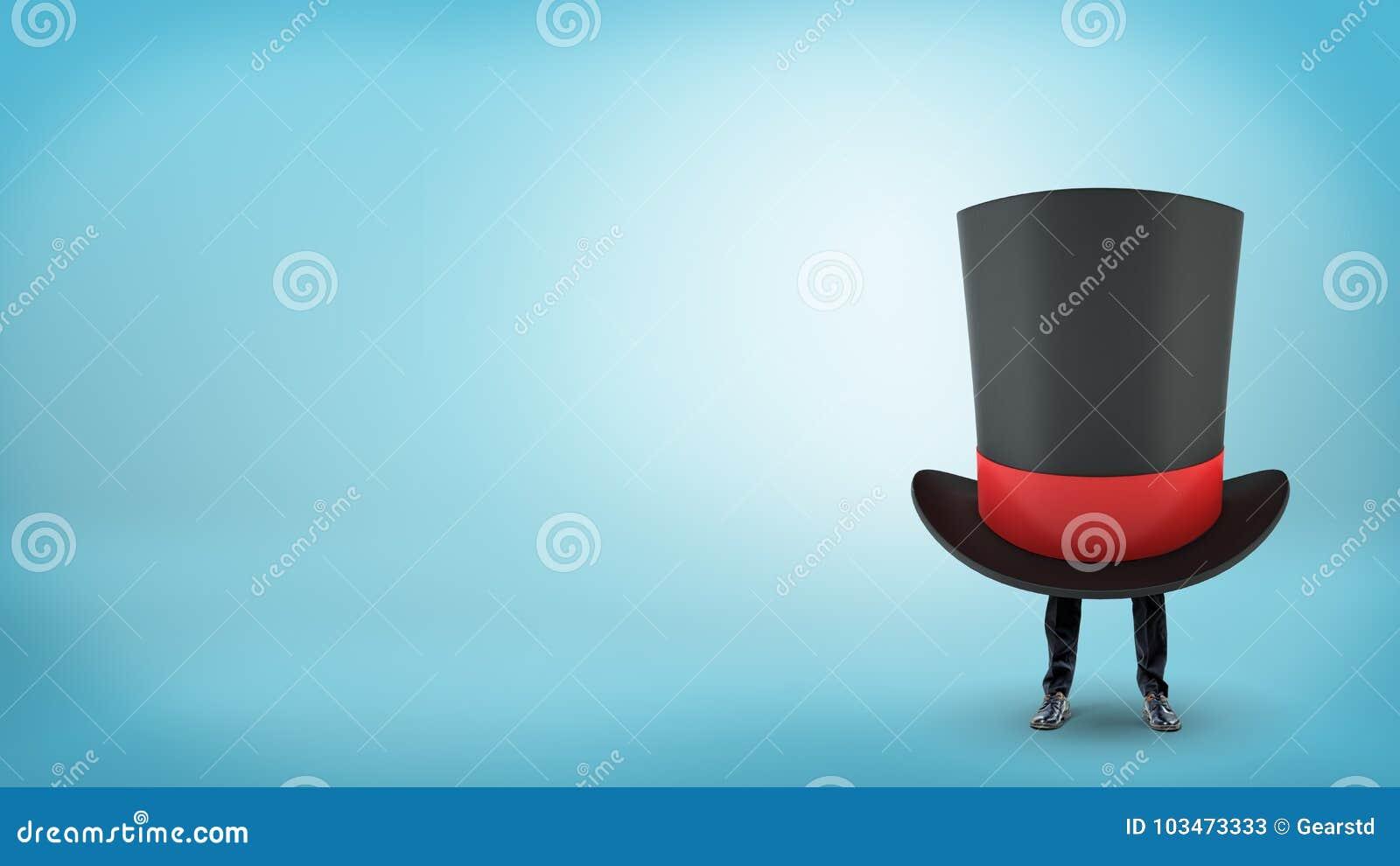 Un chapeau supérieur noir géant du ` s de magicien avec un ruban rouge cache un homme d affaires avec seulement ses jambes éviden