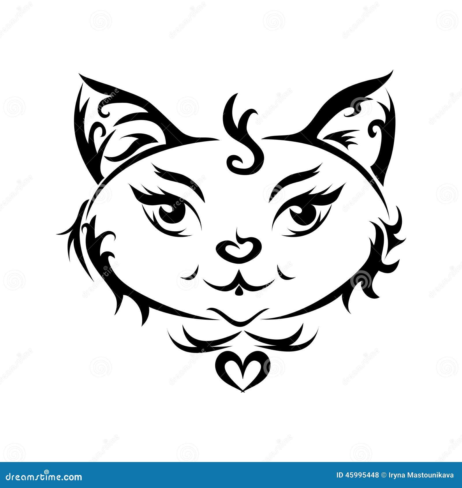 un chat noir ou un tatouage de chat illustration stock image 45995448. Black Bedroom Furniture Sets. Home Design Ideas
