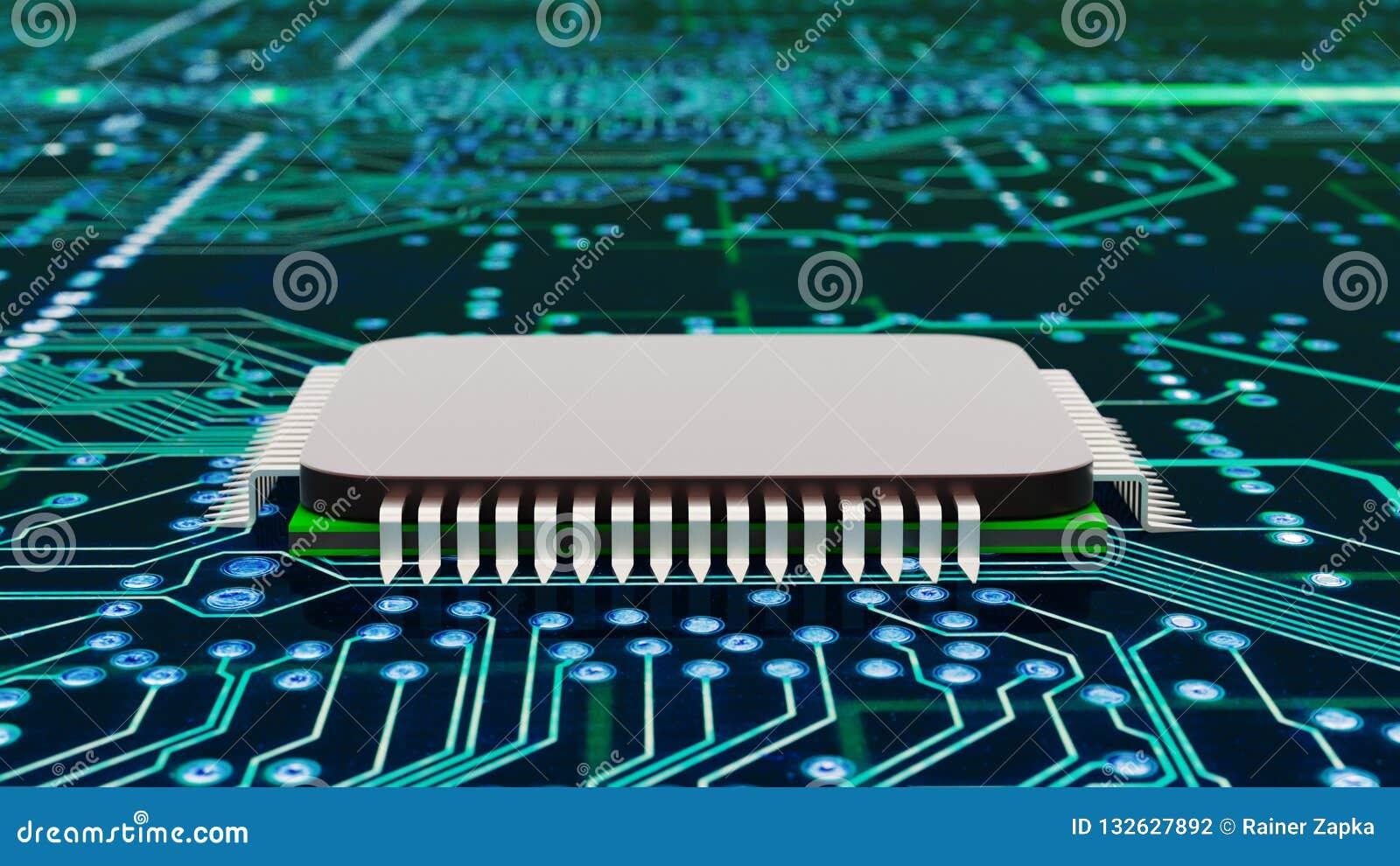 Un cierre para arriba de un procesador del ordenador