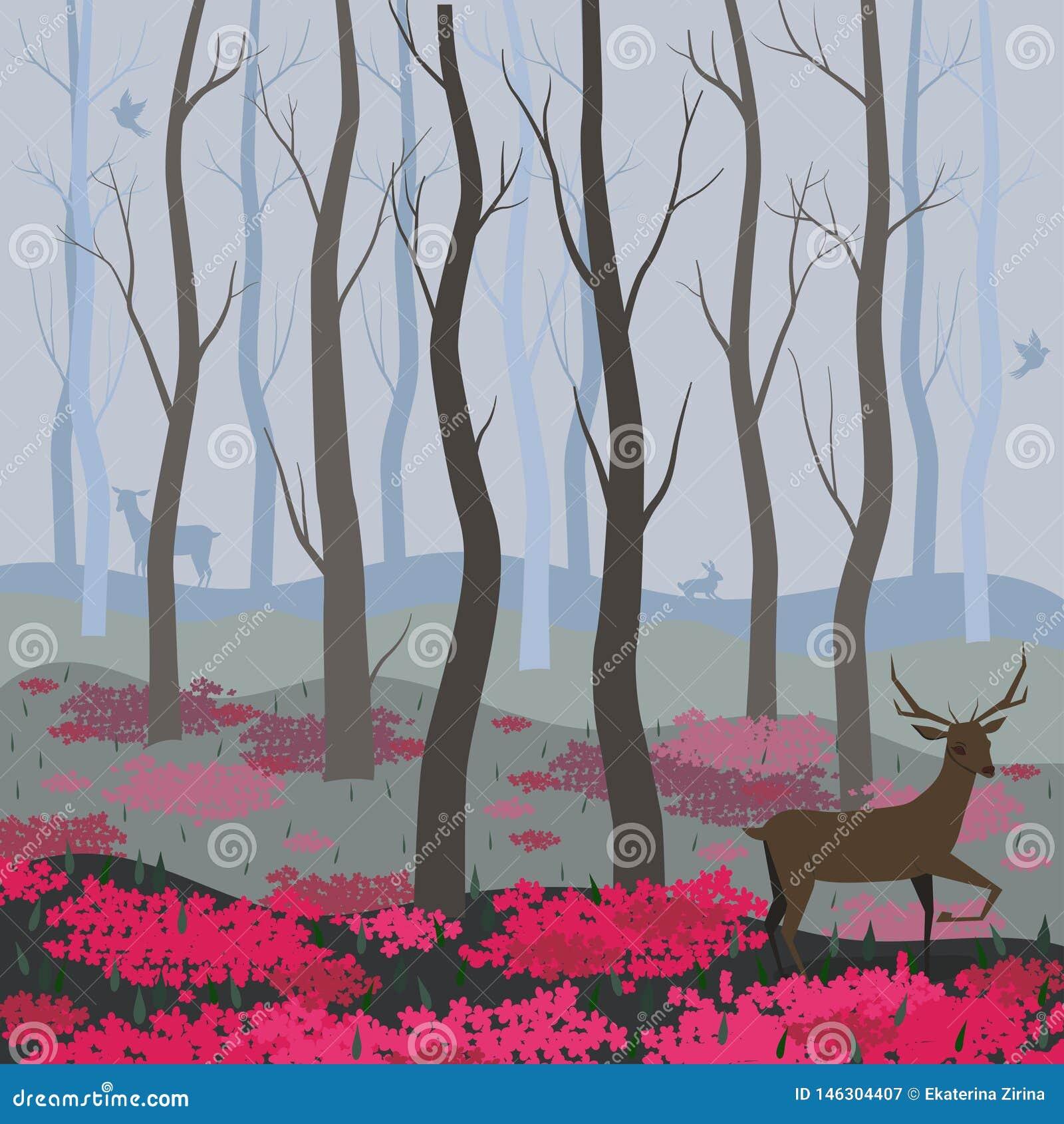 Un ciervo en el fondo del vector del bosque de hadas para el dise?o de tarjetas, banderas, p?ginas web, aviadores y otro