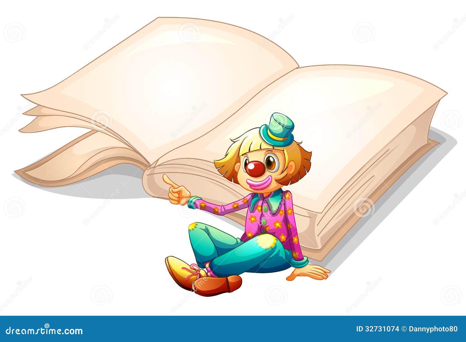 Un clown avec un livre au fond