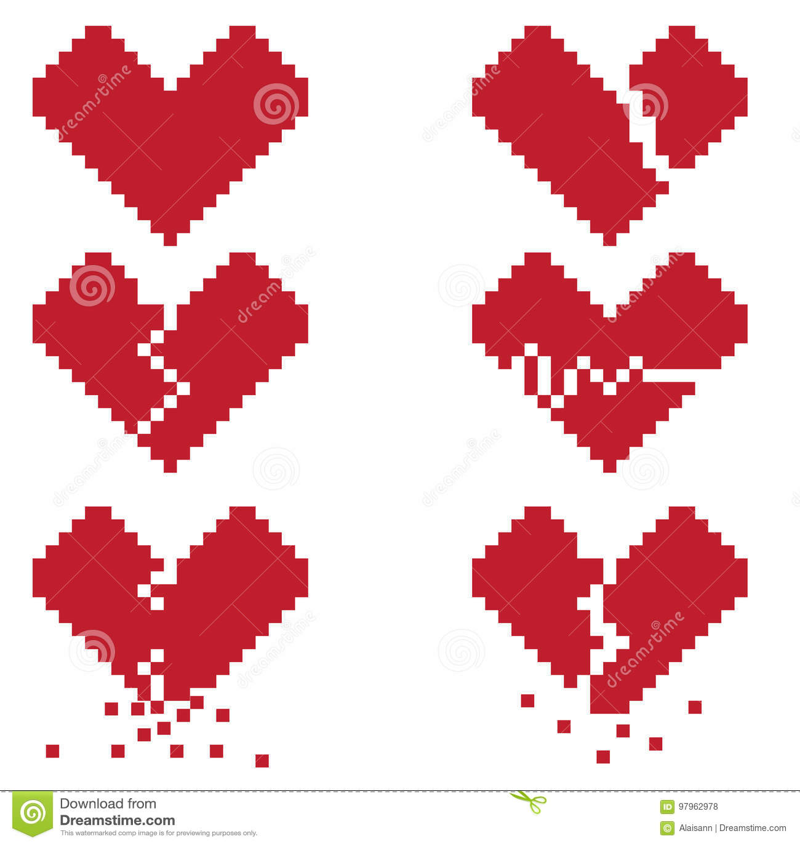 Un Coeur Brise Est Un Ensemble De Six Icones De Pixel Avec Les Coeurs Brises Illustration De Vecteur Illustration Du Brises Icones 97962978