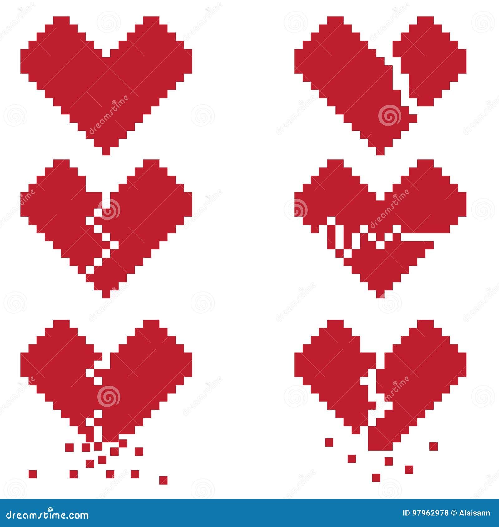 un coeur bris est un ensemble de six ic nes de pixel avec les coeurs bris s illustration de. Black Bedroom Furniture Sets. Home Design Ideas