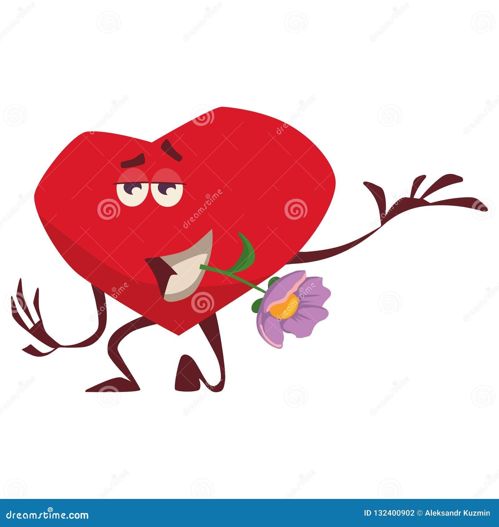 Un coeur vaillant tient une fleur lilas dans des ses dents, se tient sur un genou, expositions aiment, des soins admirablement