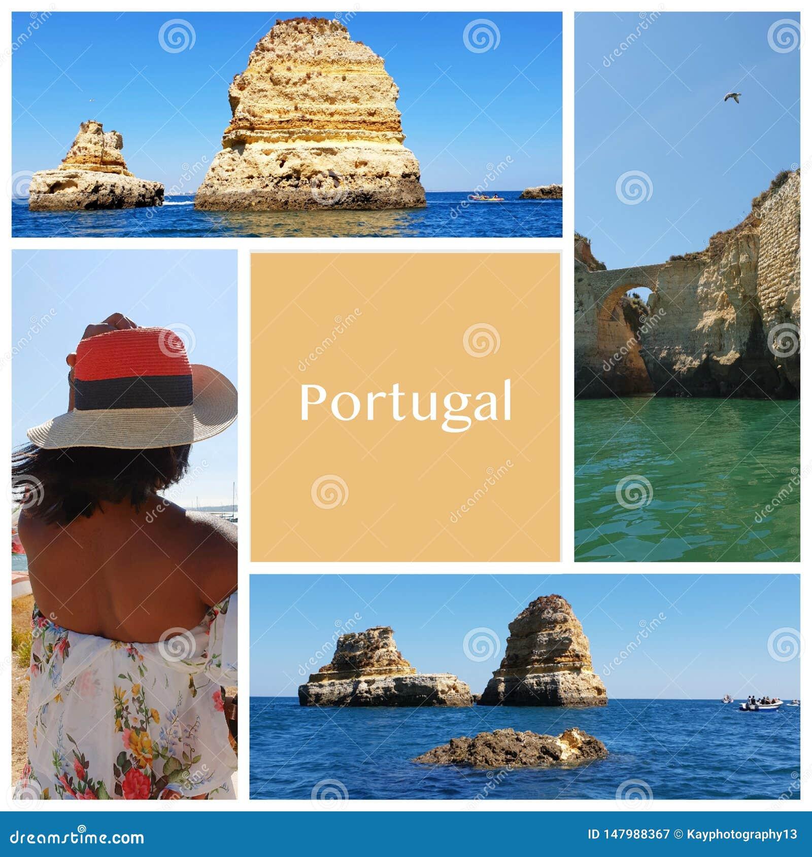 Un collage de las fotos hermosas del verano adentro alrededor de Lagos, Portugal Concepto del viaje del verano