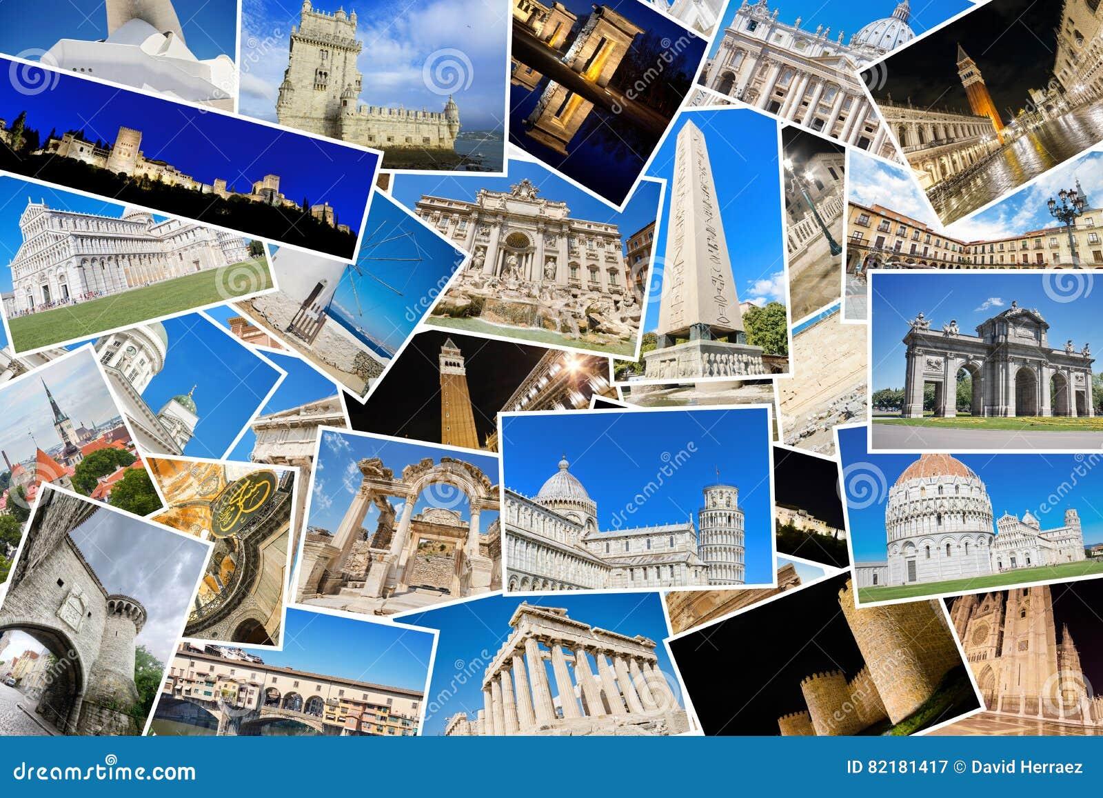 Un collage de mes meilleures photos de voyage des points de repère célèbres des villes européennes