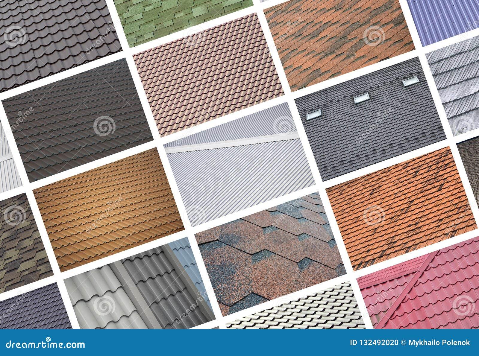 Un collage de muchas imágenes con los fragmentos de diversos tipos de ro