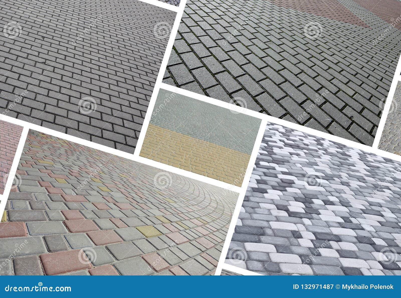 Un collage de muchas imágenes con los fragmentos de pavimentar las tejas cercanas