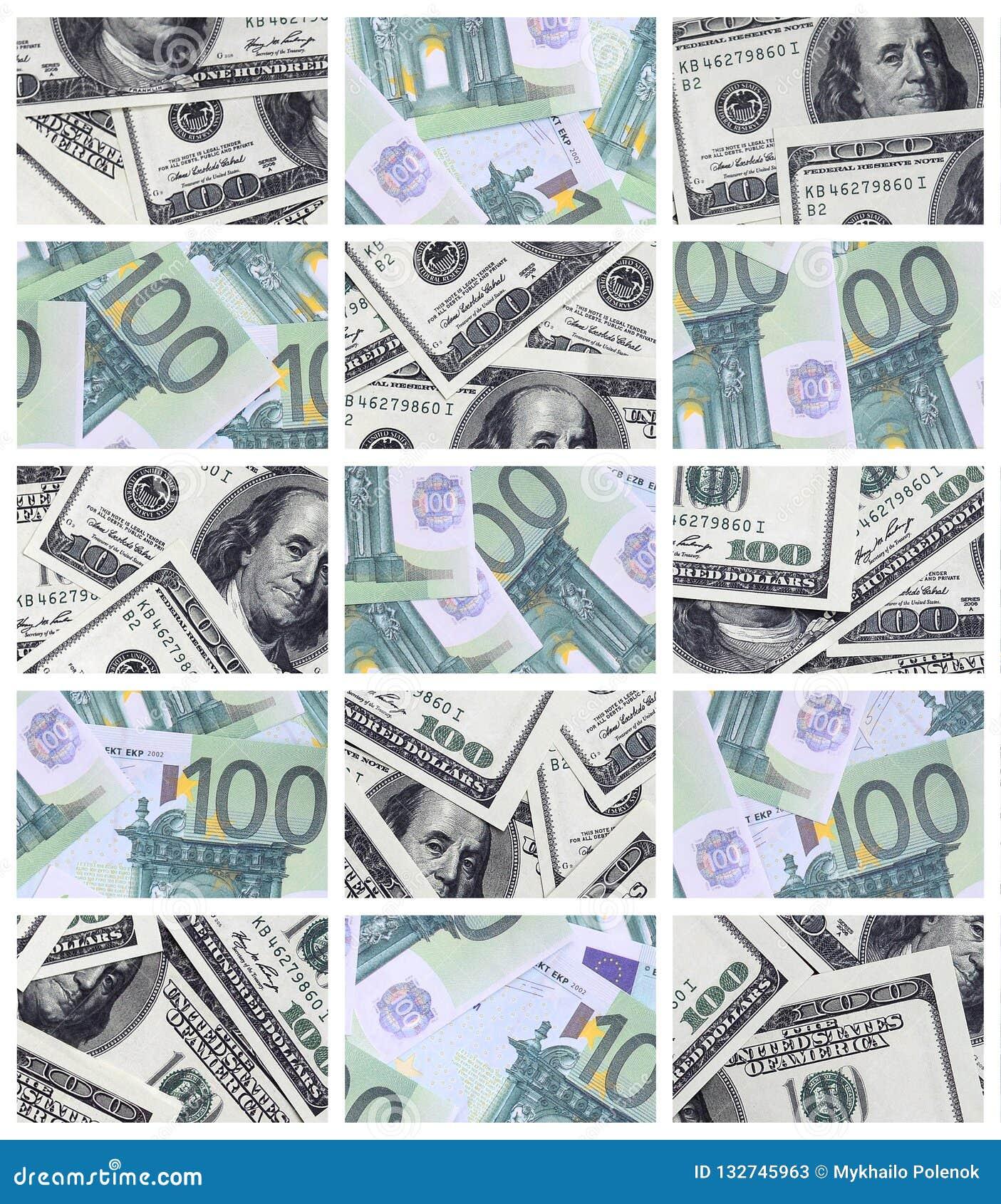 Un collage di molte immagini di euro banconote nelle denominazioni di 1