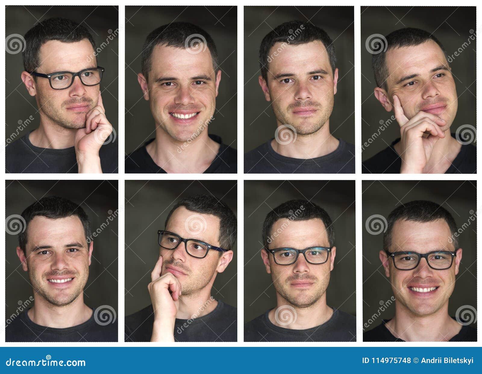 Un collage di otto ritratti di giovane unshav moro bello