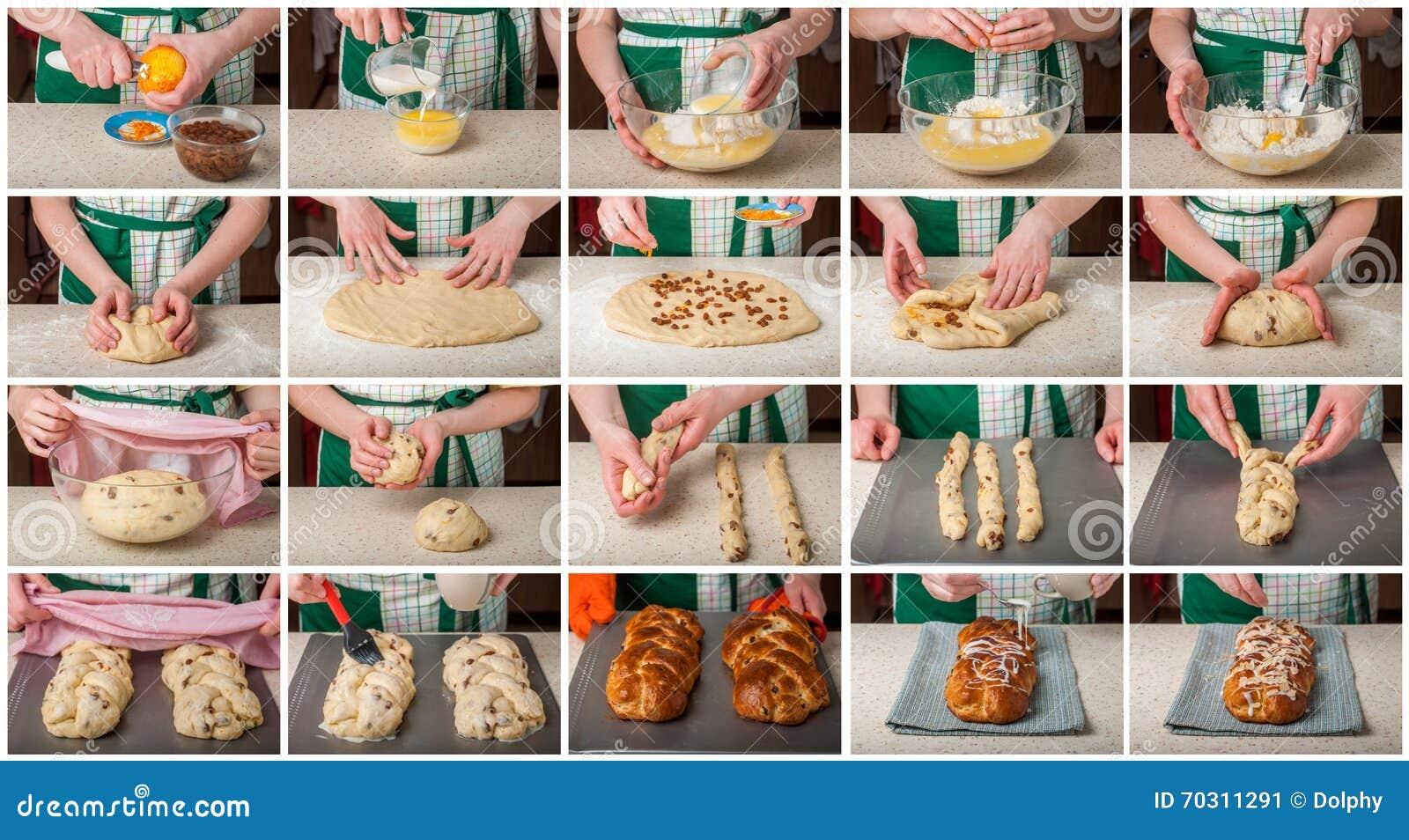 Un collage gradual de hacer el pan dulce trenzado