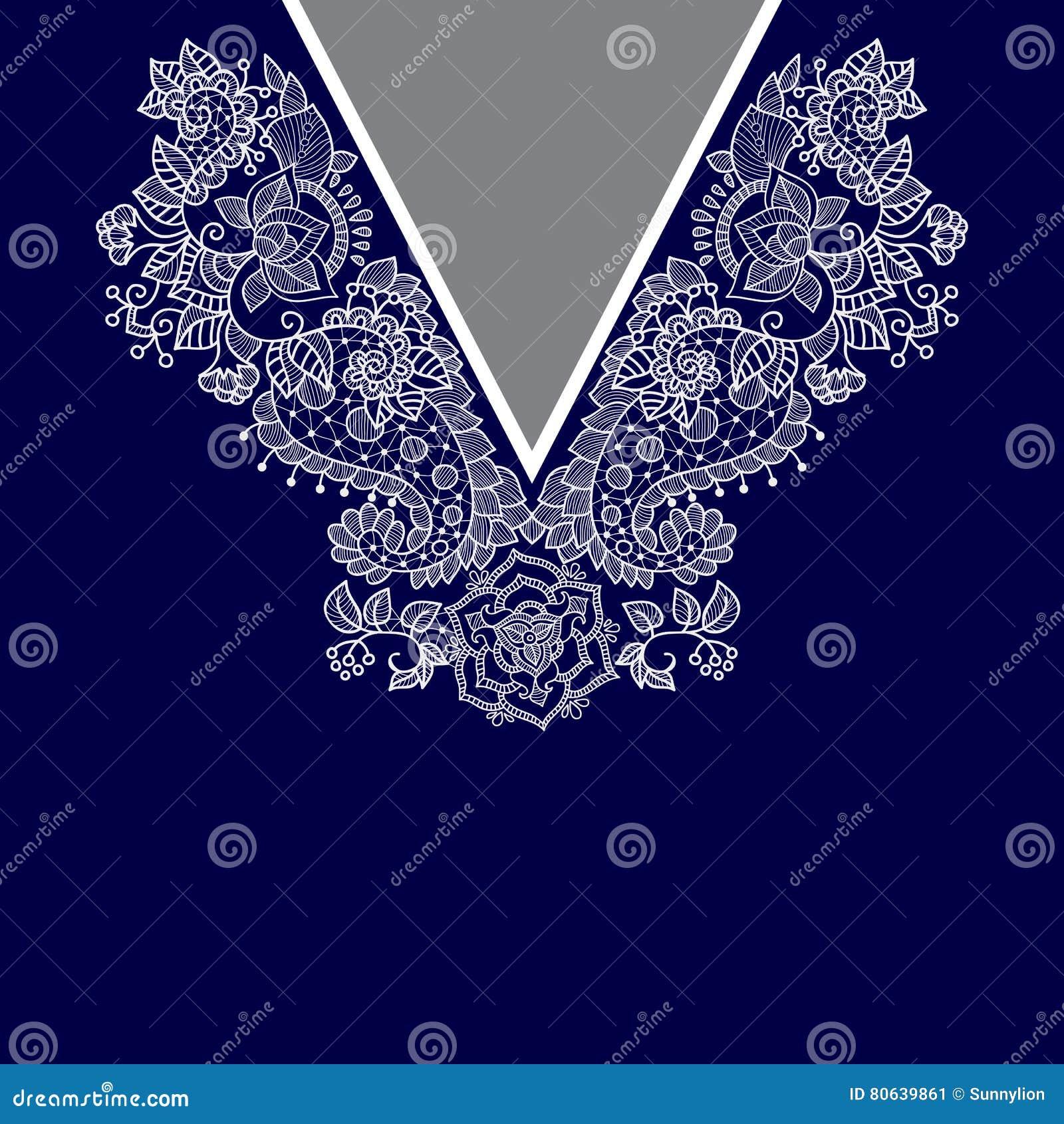 Un collo etnico di due fiori di colori Confine decorativo di Paisley