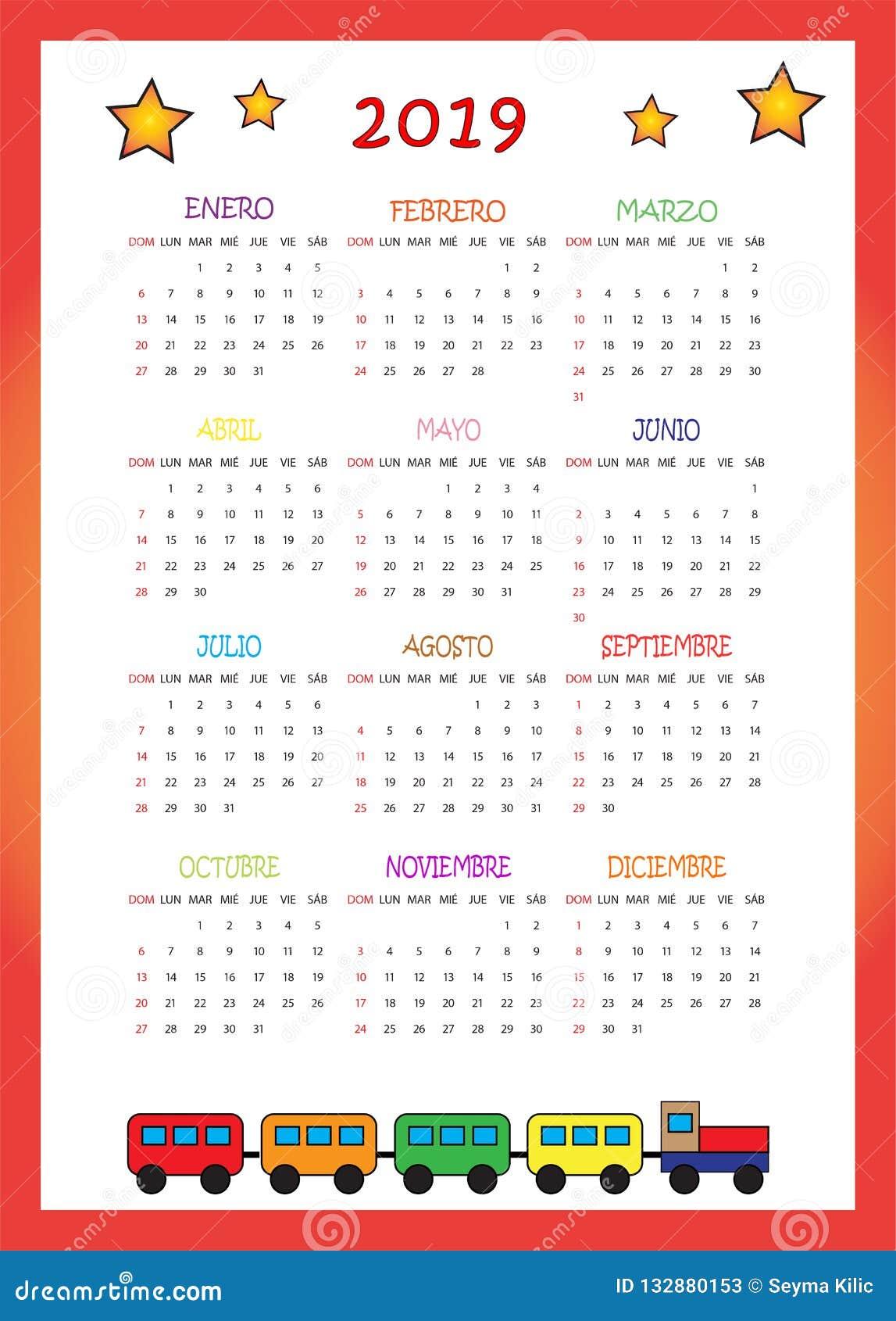 Calendario 2020 Chile Vector.Calendario 2019 Para Ninos