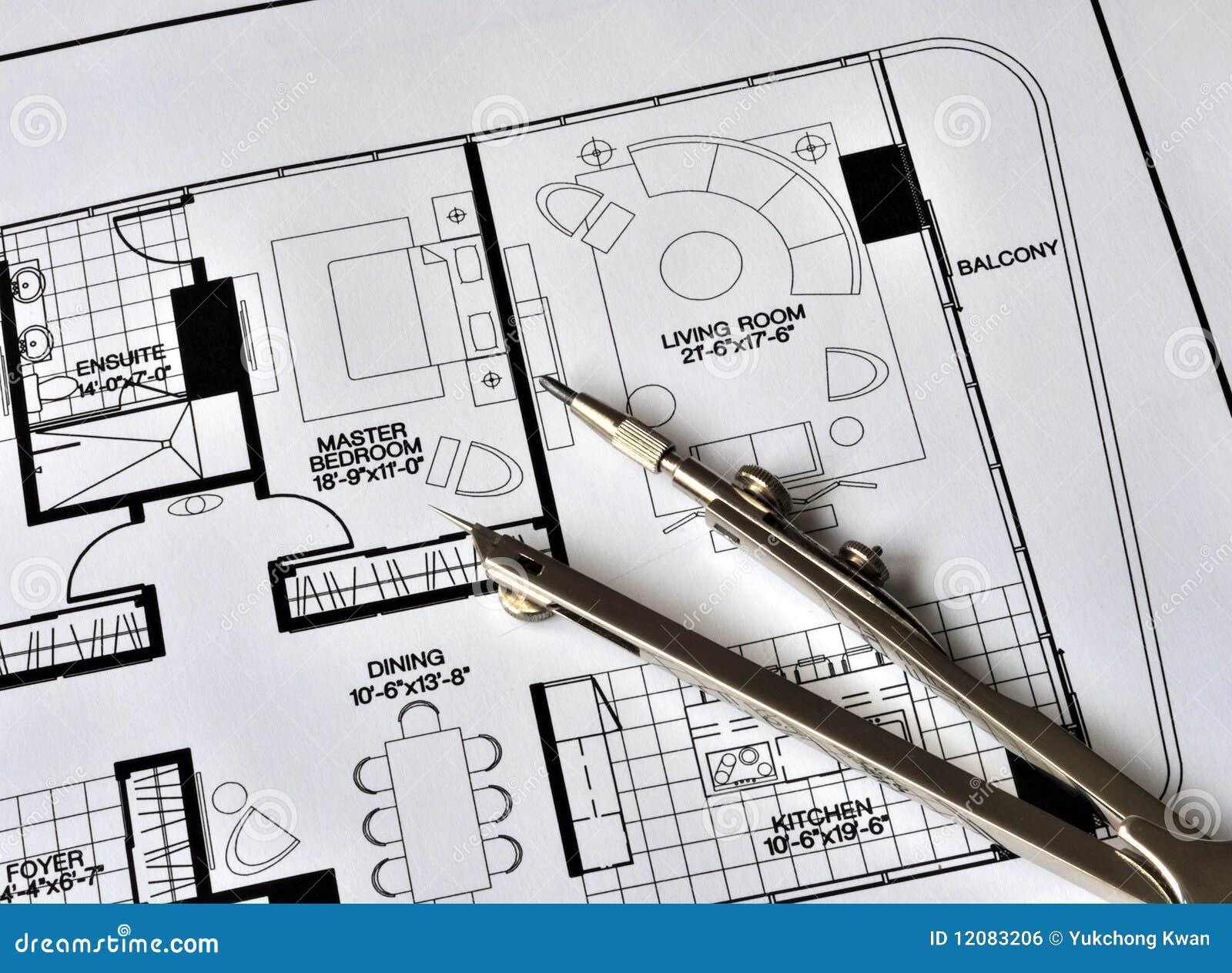 Un compas sur le dessus de la résidence floorplan
