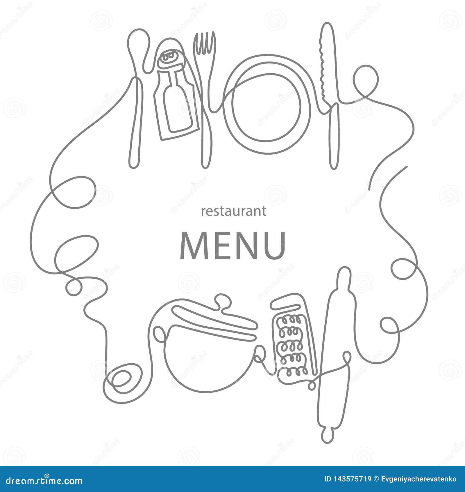 Un concept de dessin au trait pour un menu de restaurant Schéma continu de couteau, fourchette, plat, casserole, cuillère, râpe,