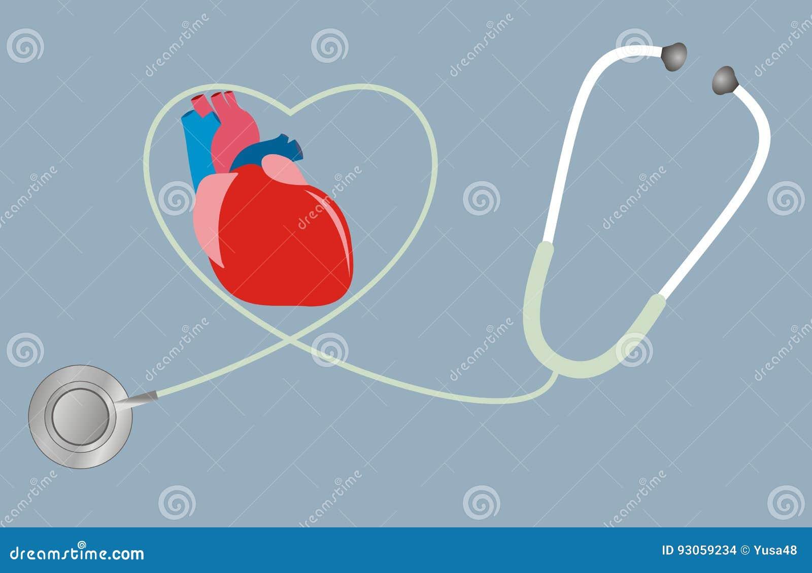 Un concepto para la salud del corazón Estetoscopio en la dimensión de una variable del corazón