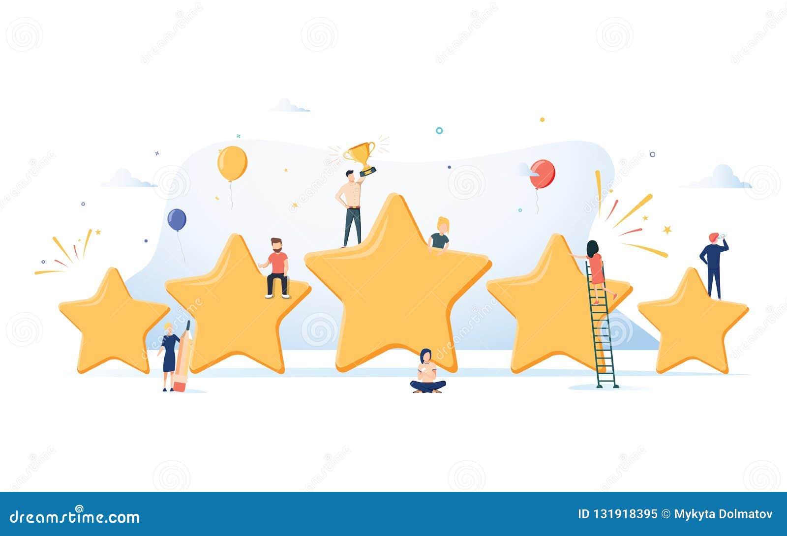 Un concetto isometrico piano di cinque stelle, migliore valutazione, feedback dei clienti, rassegna positiva di vettore Posto del
