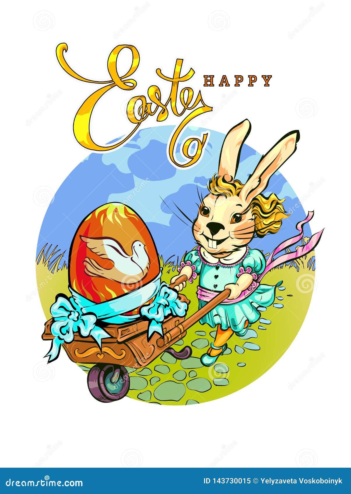 Un conejo de moda rueda un carro del vintage