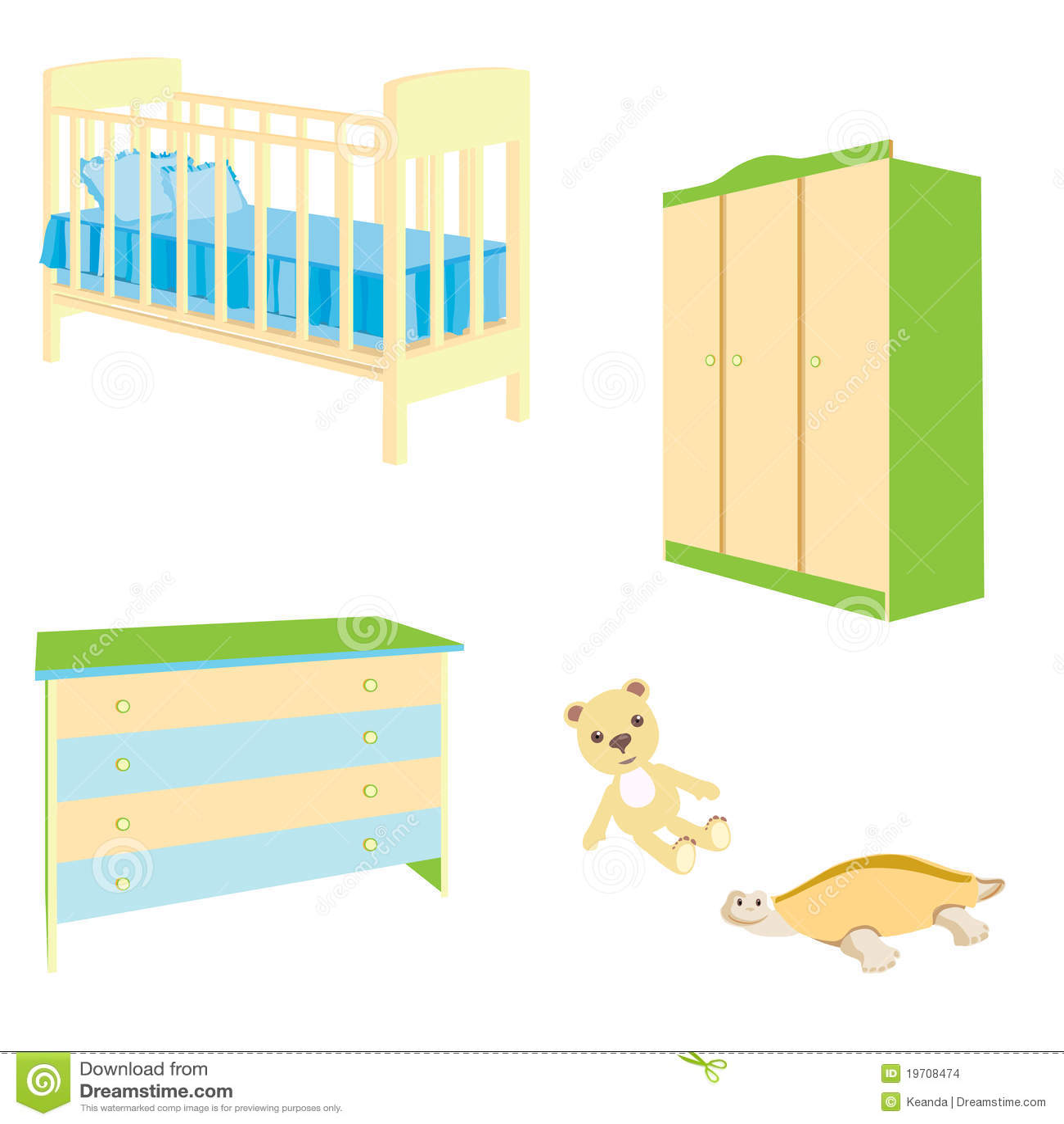 Un Conjunto De Muebles Del Bebé Ilustración del Vector - Ilustración ...