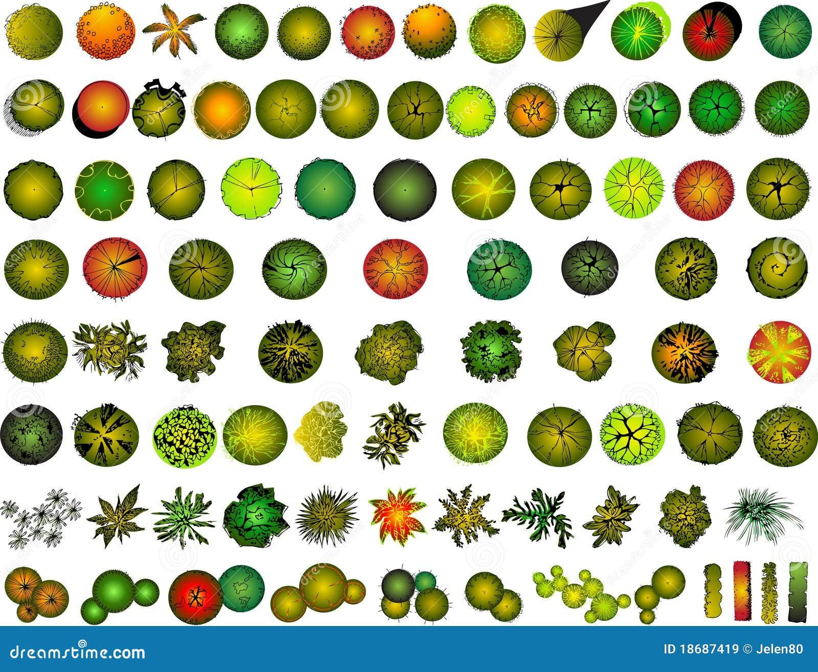 Un conjunto de símbolos de la copa de árbol